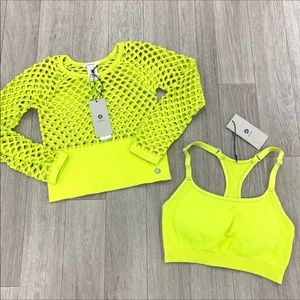NWT Avocado sports wear fishnet crop/bra set